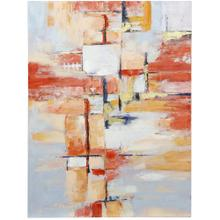 See Details - VIBRANT ABSTRACT  HAND PAINTED  36in X 47in  Modern Tangerine Abstract Art Canvas