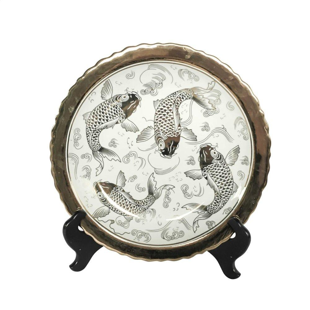 See Details - White/silver Ceramic Koi Platew/ Stand