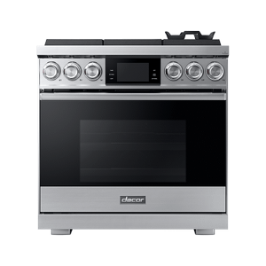 """Dacor36"""" Pro Gas Range, Silver Stainless Steel, Natural Gas"""