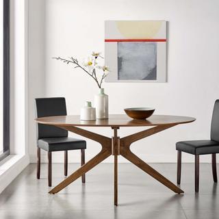 "Crossroads 63"" Oval Wood Dining Table in Walnut"
