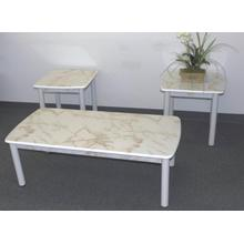 3PC ALMOND MARBLE TOP TABLE SET