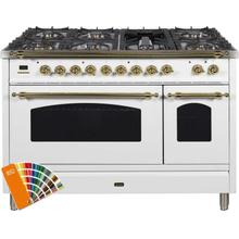 Nostalgie 48 Inch Dual Fuel Natural Gas Freestanding Range in Custom RAL Color with Brass Trim