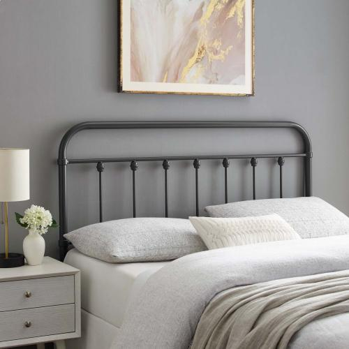 Sage Queen Metal Headboard in Gray