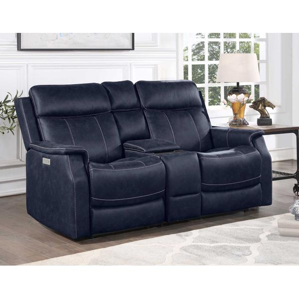 Valencia Dual-Power Leatherette Reclining Console Loveseat, Ocean Blue