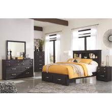 Queen Bookcase Bed With 2 Storage Drawers With Mirrored Dresser