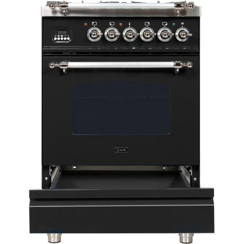 Nostalgie 24 Inch Dual Fuel Natural Gas Freestanding Range in Glossy Black with Chrome Trim
