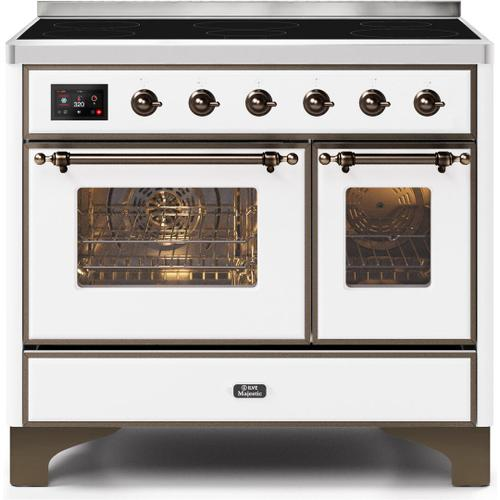 Majestic II 40 Inch Electric Freestanding Range in White with Bronze Trim