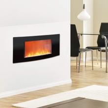 Cambridge Callisto 35 In. Wall-Mount Electric Fireplace with Curved Panel and Crystal Rocks, CAM35WMEF-1BLK