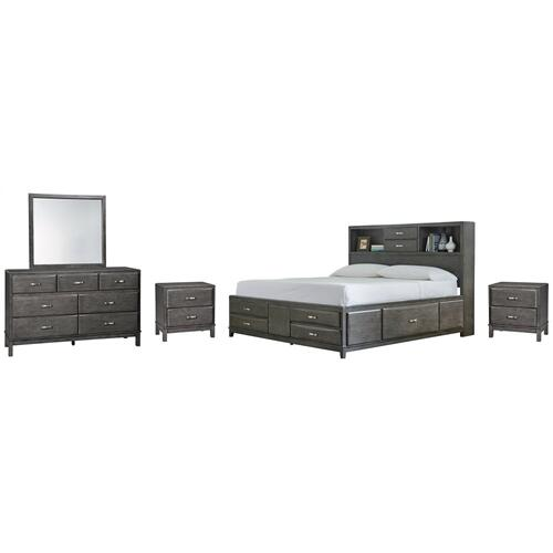 Full Storage Bed With 7 Storage Drawers With Mirrored Dresser and 2 Nightstands