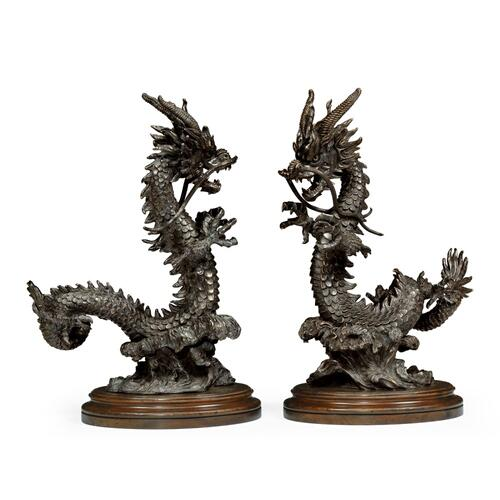 Set of Dark Bronze Dragon Statues