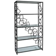 Everett Geometric Gunmetal and Glass Etagere