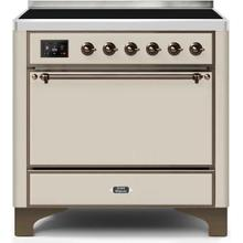 View Product - Majestic II 36 Inch Electric Freestanding Range in Antique White with Bronze Trim