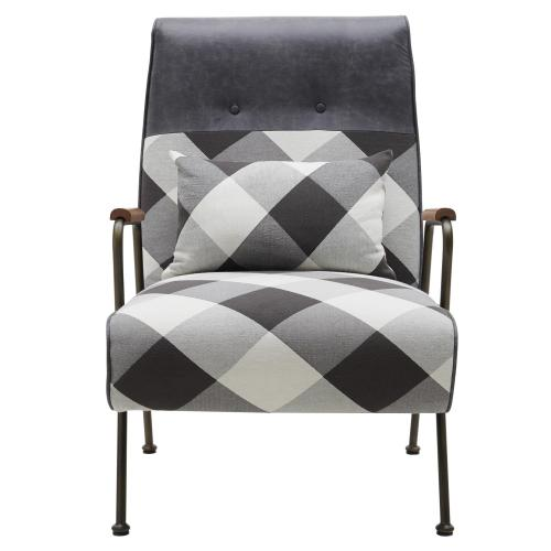 Kahlo KD Fabric Accent Arm Chair, Mono Gingham/ Vintage Midnight