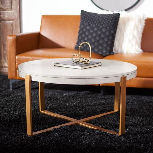 Safavieh - Navya Round Coffee Table - White Wash / Gold