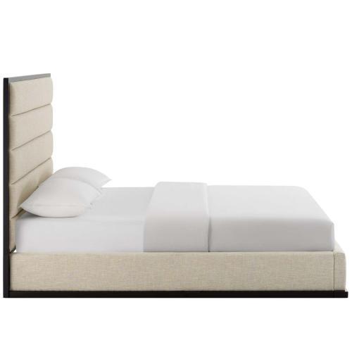 Ashland Queen Upholstered Linen Fabric Platform Bed in Beige