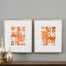 Overlapping Teal and Orange Framed Prints, S/2