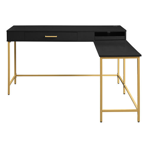 Modern Life Black Desk With Charger Drawer