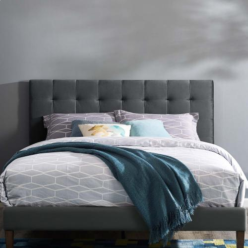 Paisley Tufted Full / Queen Upholstered Performance Velvet Headboard in Gray