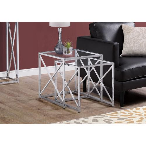 NESTING TABLE - 2PCS SET / CHROME METAL W/ TEMPERED GLASS