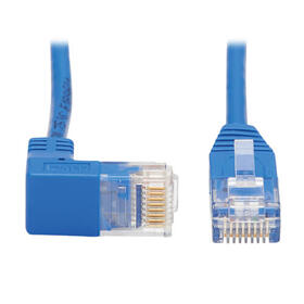 Down-Angle Cat6 Gigabit Molded Slim UTP Ethernet Cable (RJ45 Right-Angle Down M to RJ45 M), Blue, 2 ft.