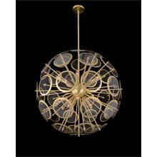 Genesis: Acrylic Sphere Ten-Light Pendant in Antique Brass