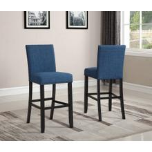 See Details - Biony Blue Fabric Bar Stools with Nailhead Trim, Set of 2