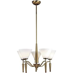 5-lite Ceiling Lamp, Bronze W/white Glass, 60wx5/b Type