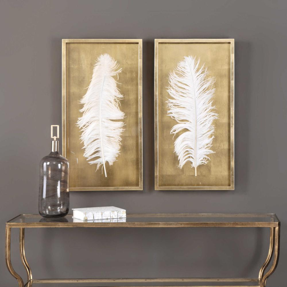 See Details - White Feathers Shadow Boxes, S/2