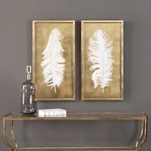 White Feathers Shadow Boxes, S/2