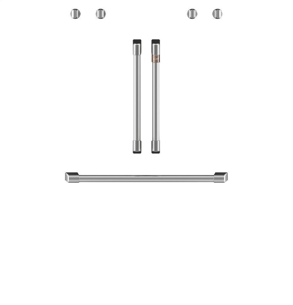 "Cafe AppliancesCaf(eback) 2 French-Door Handles; 1 - 30"" Handle; 4 Knobs - Brushed Stainless"