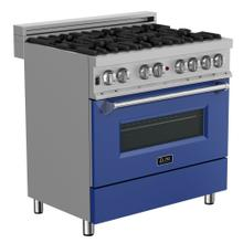 """View Product - ZLINE 36"""" Professional Dual Fuel Range in DuraSnow® Stainless Steel with Color Door Options (RAS-SN-36) [Color: Blue Matte]"""