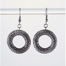 BTQ Mixed Metal Mesh Ring Earrings - Antique Silver