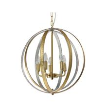 Metal Chandelier With Silver Leather 4 Lights