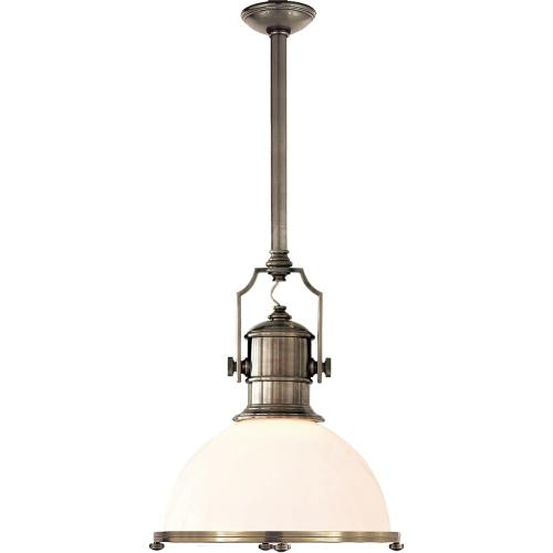 Visual Comfort CHC5136AN-WG E. F. Chapman Country Industrial 1 Light 20 inch Antique Nickel Pendant Ceiling Light in White Glass