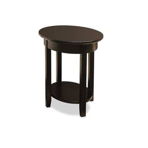 - Demilune Elliptical Oval End Table with Shelf