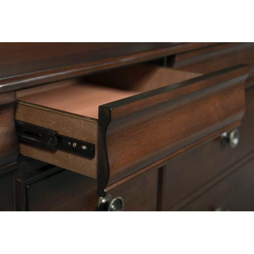 Cameron Cherry Sleigh Bedroom - Queen Sleigh Bed, Dresser, Mirror, Chest, and Night Stand