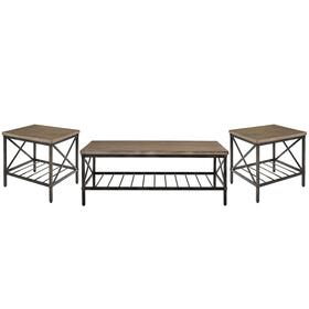 Brendon 3-Pack Accent Tables, Distressed Toffee Top with Black Metal Base