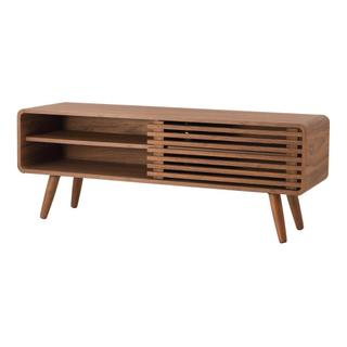 """See Details - Wilson 46"""" KD Slat Low TV Stand, Walnut (ASSEMBLY REQUIRED)"""