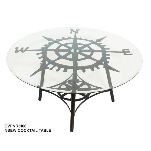 Explorer Round Metal and Glass Cocktail Table