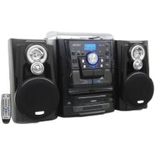 Bluetooth® 3-Speed Stereo Turntable Music System with 3-CD Changer & Dual Cassette Deck