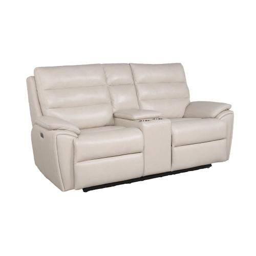 Duval Dual Power Reclining Console Loveseat, Ivory