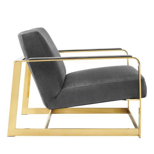 Seg Performance Velvet Accent Chair in Gold Gray