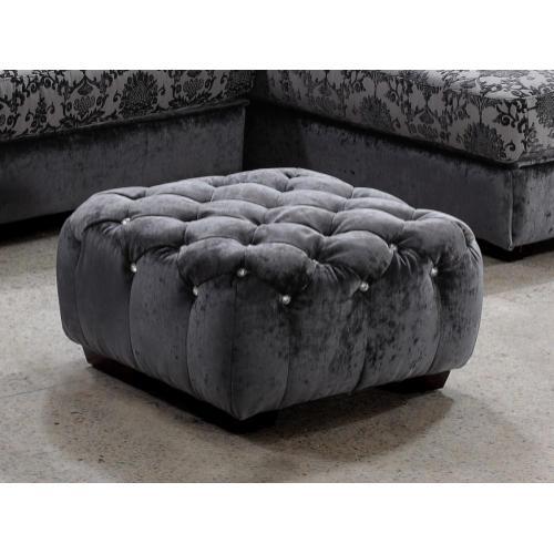 Divani Casa Metropolitan Modern Grey Fabric Ottoman w/Crystals