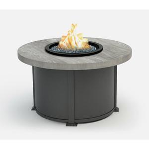"42"" Round Chat Fire Pit Ht: 24.5"" Valero Aluminum Base (Top Color: Drift Frame Finish: Carbon)"