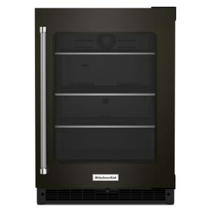 """KitchenAid24"""" Undercounter Refrigerator with Glass Door and Shelves with Metallic Accents - Black Stainless Steel with PrintShield™ Finish"""