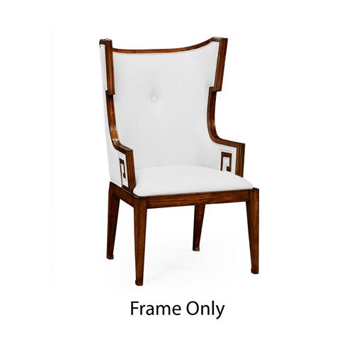 Greek Key Design Biedermeier Walnut Armchair Only Frame