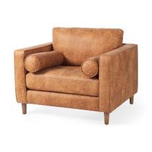 See Details - Loretta 40.7L x 36.2W x 33.9H Cognac Brown Faux Leather Chair W/ Two Bolster Cushions