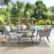 Endeavor 5 Piece Outdoor Patio Wicker Rattan Loveseat Armchair Coffee + Side Table Set in Gray Gray