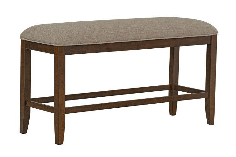 Kyle Dark Counter Height Upholstered Bench, Brown