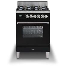 Professional Plus 24 Inch Gas Liquid Propane Freestanding Range in Glossy Black with Chrome Trim
